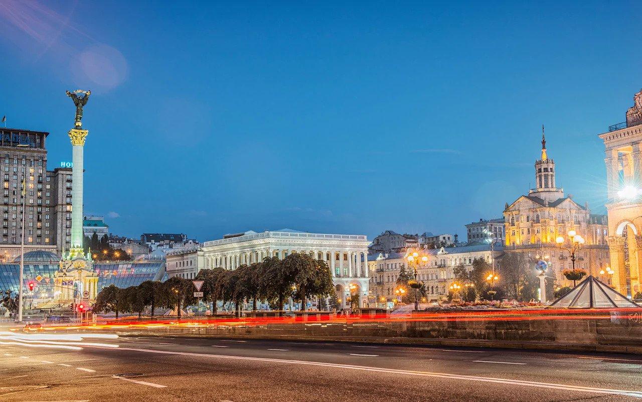 kyiv city center evening view
